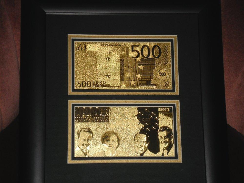 500-1000 EURO 24Kt ARANY BANKJEGY LUXUS SZETT,2 ARANYPÉNZ