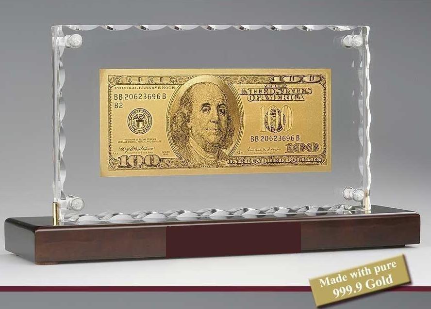 100 DOLLÁR 24 kt ARANY BANKJEGY,KRISTÁLY LUXUS ASZTAL DÍSZ
