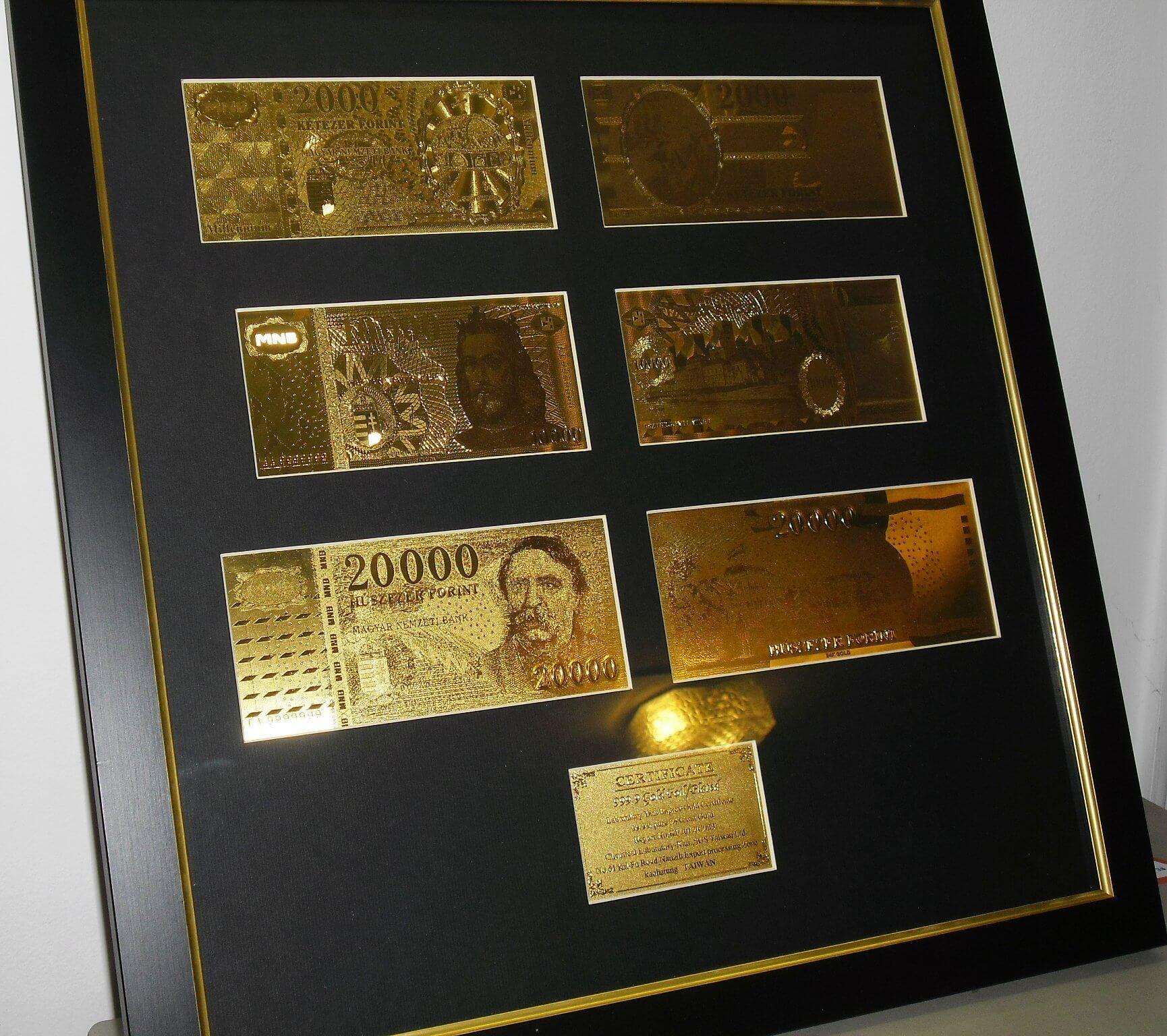 MAGYAR 20.000 Ft ARANY BANKJEGY, SZENT KORONA FORINT SZETT